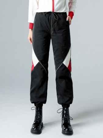 拼接反光条装饰运动羽绒裤报价